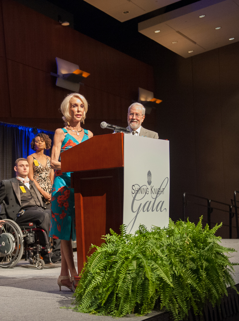 Joyce Johnson addresses the audience at VCU Health's 2019 Shining Knight Gala, which is an event that celebrates first responders and VCU Health's trauma team. At the event, Joyce and her husband Rich announced a $1 million gift to name and support the surgical trauma intensive care unit at VCU Medical Center. Photo: Thomas Kojcsich, VCU University Relations