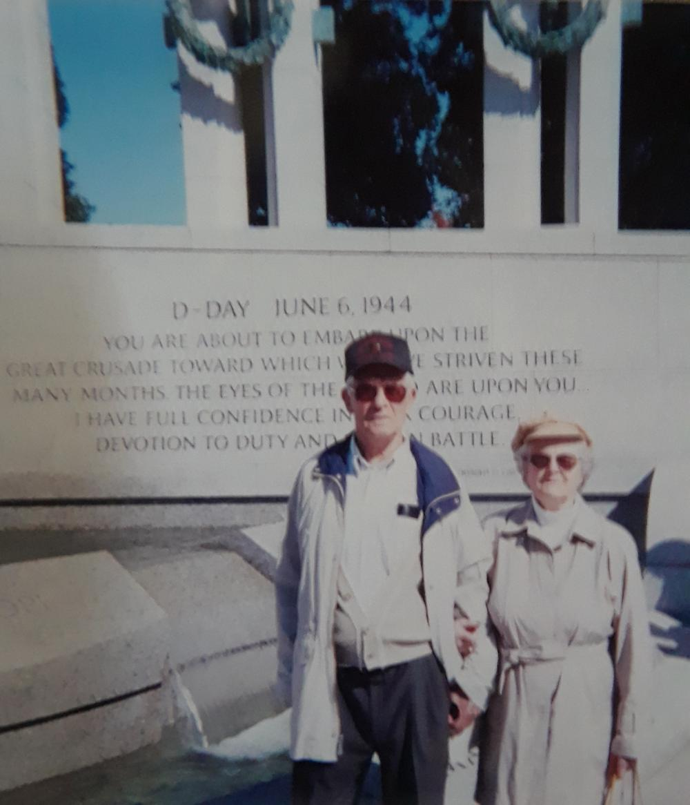 "Herbert ""Bert"" Meyer and Charlotte Meyer visit the National World War II Memorial in Washington D.C. The two are now buried at Arlington National Cemetery. Photo courtesy of Carlyn Dalness​​"