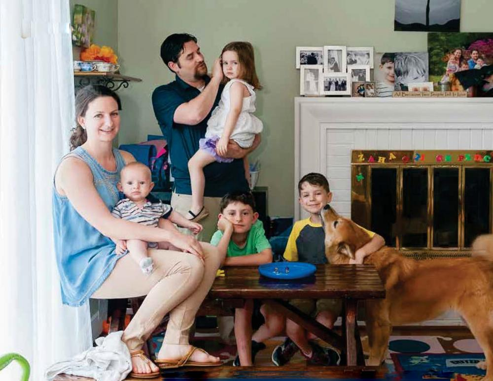 Coffee Bourne with her husband Adam and four children, (L to R) Jonah, Elia, Luca and Dominic. Photo: Tom Kojcsich, VCU University Marketing.