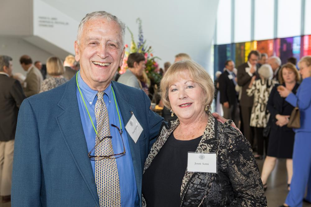 David F. Saleeba, Jr., a 1962 School of Pharmacy graduate, pauses with fellow MCV Society member Jenni Aerni at the 2019 MCV Society reception.