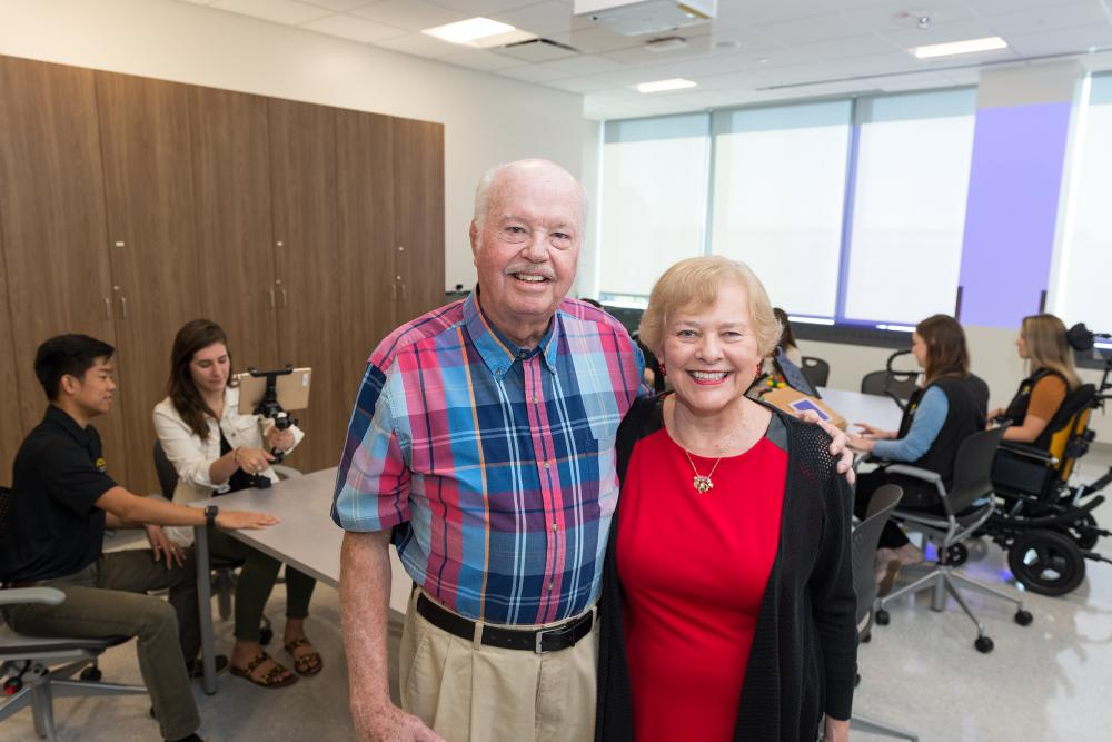 Jack Dalness, D.D.S., and Carlyn Dalness tour the Herbert and Charlotte Meyer Assistive Technologies Laboratory & Quiet Room at the VCU College of Health Professions. They named the lab in honor of Carlyn's parents. Her father benefitted greatly from occupational therapy after being wounded in WWII. Photo: Kevin Schindler