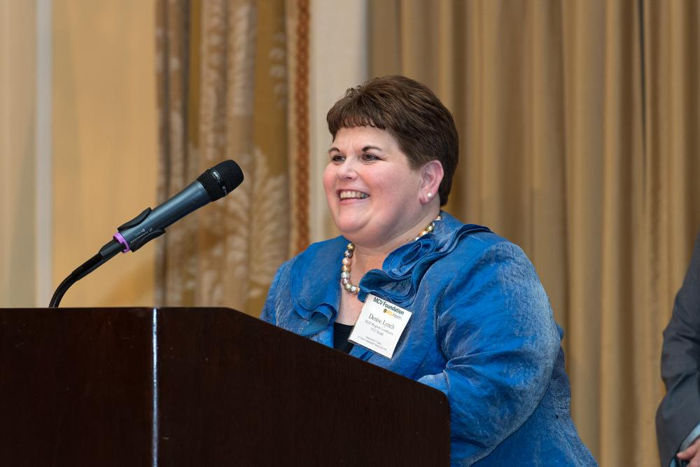 Denise Lynch, RN, accepts her Jerome F. Strauss Award at our annual dinner and awards ceremony.
