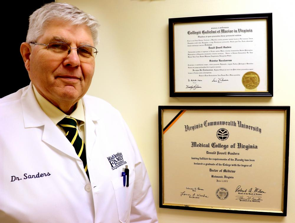 Don Sanders, a 1972 VCU School of Medicine graduate, is still practicing family medicine in Central Virginia after more than 40 years. He and his wife Terry recently made a gift to support the fmSTAT program, which develops, nurtures and supports medical students who are committed to the pursuit of a career in family medicine.