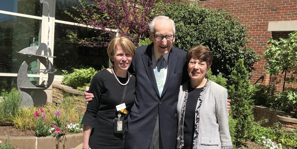 Dr. Ameringer (left) meets with Dr. Lawrence and Tina at Massey this past spring to talk about her plans for utilizing the Tina L. Bachas Oncology Nursing Research Award. Photo: Cindy Zilch
