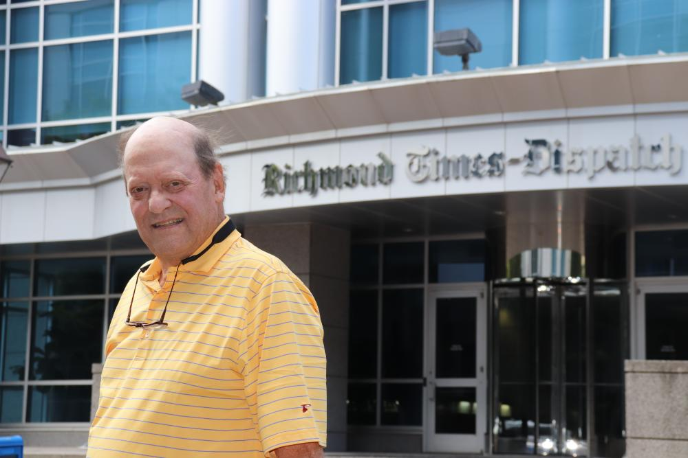 Ross Mackenzie visits the Richmond Times-Dispatch on Franklin Street in Richmond, where he spent many of his 38 years editing the Richmond News Leader and Richmond Times-Dispatch. Photo: Eric Peters