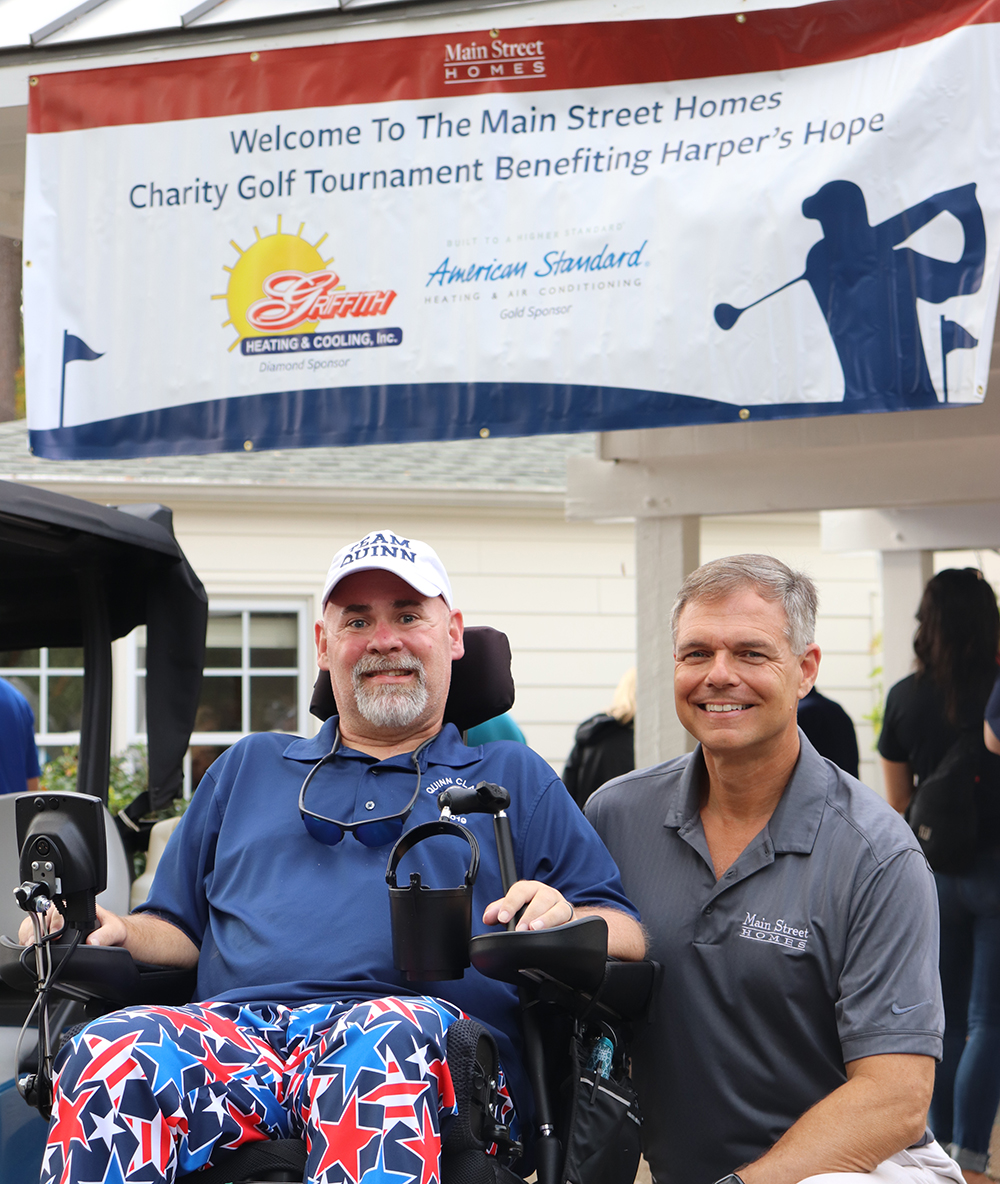 Bobby Quinn (left) and Vernon McClure prepare for the 2019 Main Street Homes Charity Golf Tournament this past September. When Bobby was diagnosed with ALS in 2017, Vernon, president of Main Street Homes, decided to make the company's annual golf tournament a fundraiser in support of the Harper's Hope Fund for ALS at VCU Health.