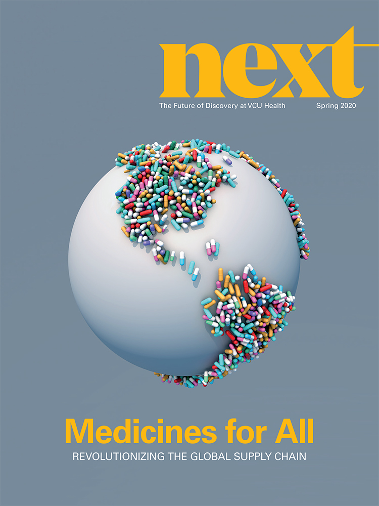 NEXT Magazine cover featuring a globe with continents made up of pills