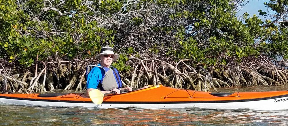 Just seven months after surviving an aortoesophageal fistula, Ed Prestemon kayaked in Florida and sent this photo to the rehab therapists who had helped him recover. Photo courtesy of the Prestemons.