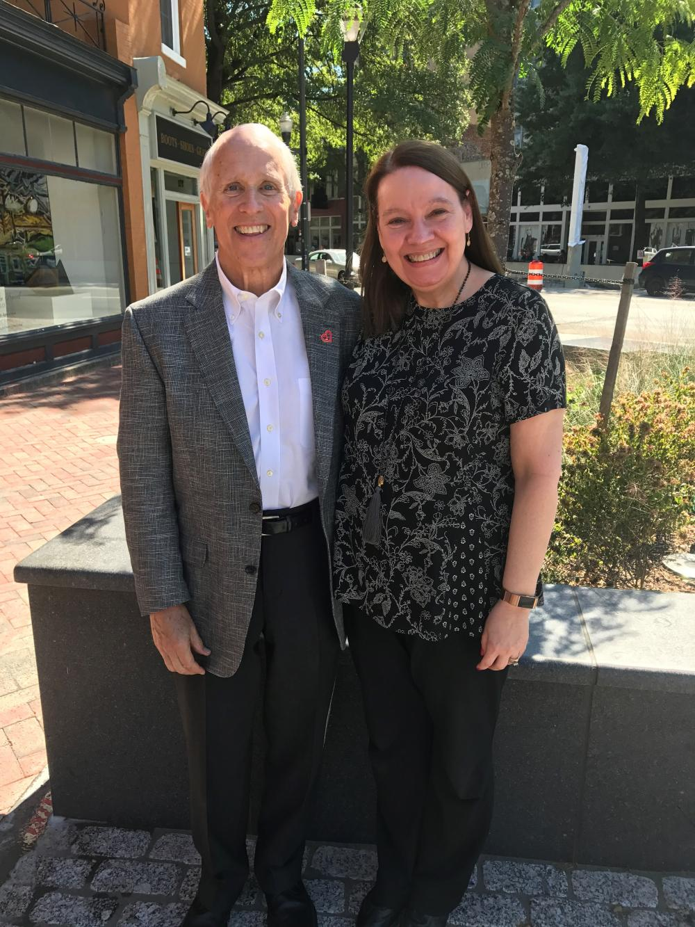 Bob Hershberger stands with Mary Ann Peberdy, M.D., director of VCU Health's Advanced Resuscitation, Cooling Therapeutics and Intensive Care (ARCTIC) post-cardiac arrest program. Dr. Peberdy treated Bob after he suffered a cardiac arrest in Williamsburg.