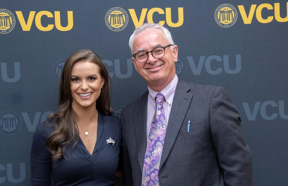 Camille Schrier and Peter Buckley, M.D., dean of VCU School of Medicine
