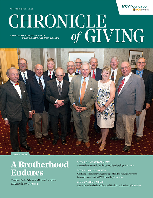 This issue of The Chronicle of Giving features members of the VMI Class of 1969 on the cover. In 2019, the class established the Charles F. Bryan Jr. Parkinson's Disease Research Fund.
