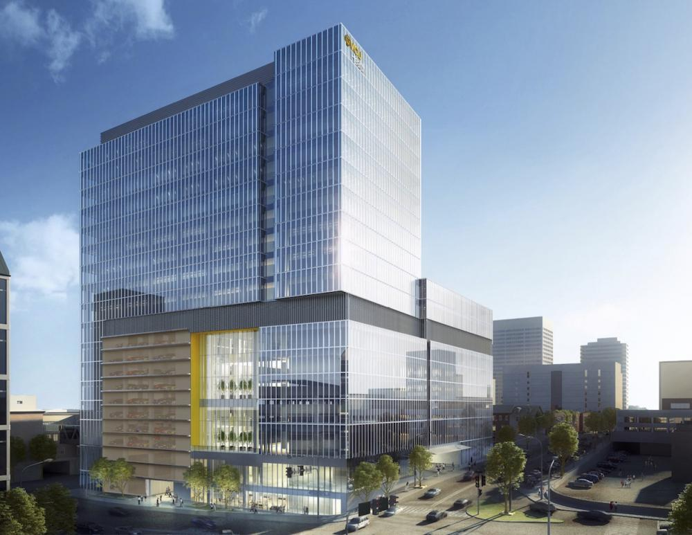 A rendering shows what the 16-story, 603,000-square-foot outpatient facility at the corner of North 10th and East Leigh streets will look like when it's completed.