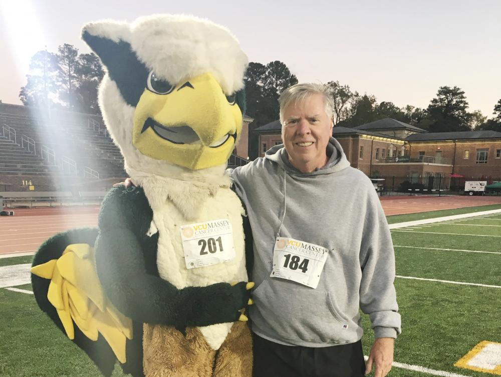 Charles Crone with the W&M mascot at the 2016 Massey Cancer Center 5K.