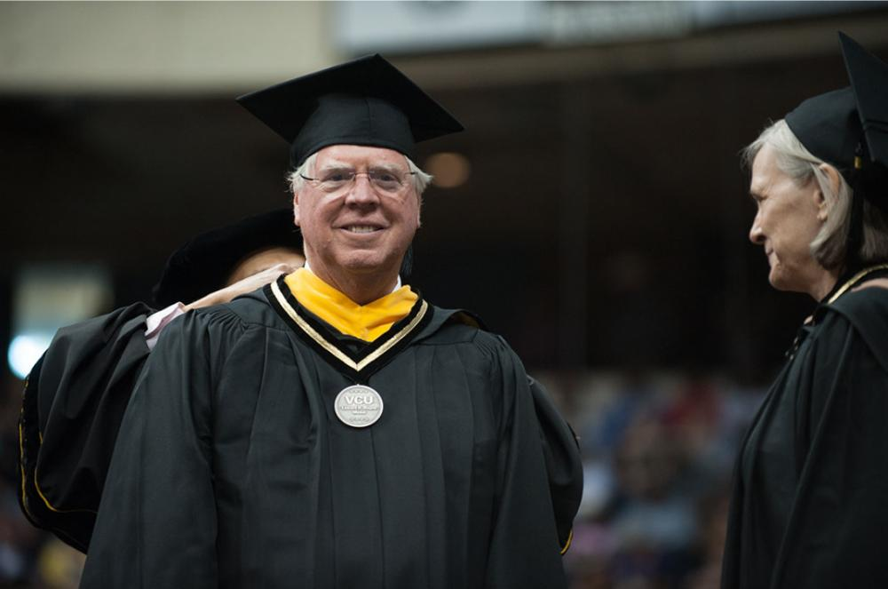 Charles Crone receives the Edward A. Wayne Medal at VCU's commencement on May 12.