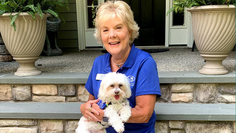 Stewie the Maltese with his mom Joan Nuttle